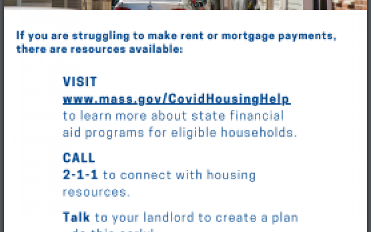 Resources available for individuals and families struggling to make rent or mortgage