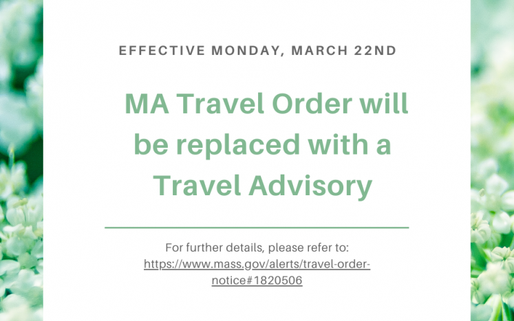 MA Travel Order to be Replaced with Travel Advisory