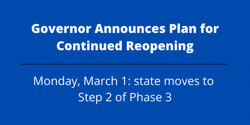 Governor Announces Plan for Continued Reopening